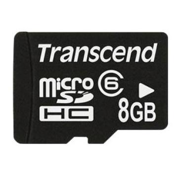 MicroSDHC 08Гб Transcend Класс 6 (2 адаптера)