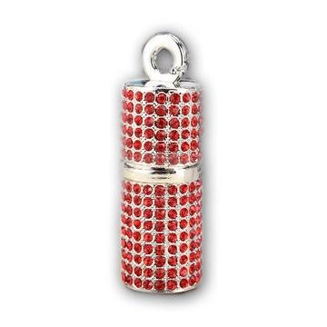 Оригинальная подарочная флешка Present ART93 128GB Red (помада для губ, со стразами)