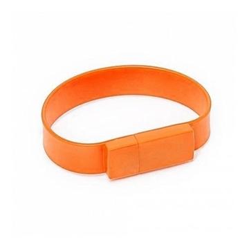 Оригинальная подарочная флешка Present BRT02 64GB Orange (флешка-браслет резиновый цветной, узкий, одноцветный)