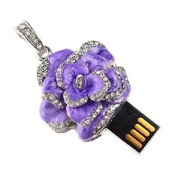 Оригинальная подарочная флешка Present FLW05 128GB Purple (разноцветные розы без стебля и камнями на лепестках)