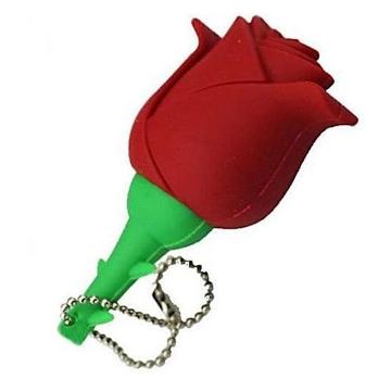 Оригинальная подарочная флешка Present FLW17 32GB Red (красная роза на стебле)