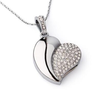 Оригинальная подарочная флешка Present HRT02 128GB Silver (сердце золотистое со стразами)