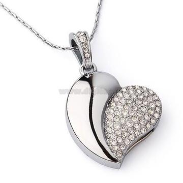 Оригинальная подарочная флешка Present HRT02 64GB Silver (сердце серебристое со стразами)