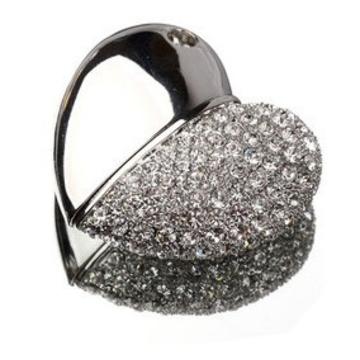 Оригинальная подарочная флешка Present HRT19 64GB Silver (флешка-сердце, тонкое, одна половина - гладкое серебро, другая - серебро с кристаллами)