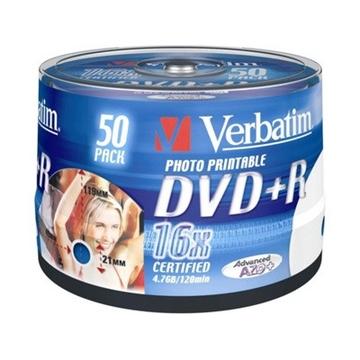 DVD+R (болванка) Verbatim Cake Box 50шт (4.7GB, 16x, Photo Printable, 43651)