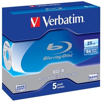 Blu-Ray BD-R Verbatim Jewel Case 5шт (25GB, 6x, 43715)