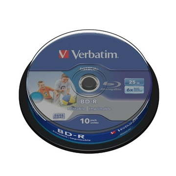 Blu-Ray BD-R Verbatim Cake Box 10шт (25GB, 6x, Printable, Datalife, 43804)
